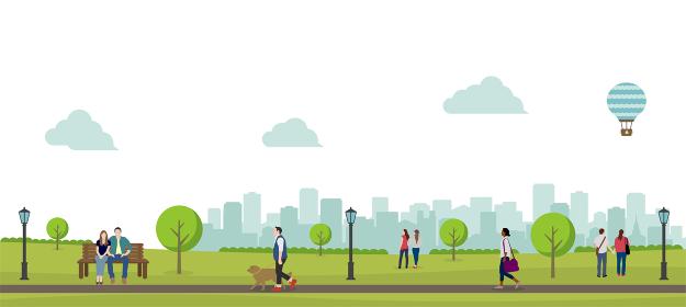 緑のある公園(人々の日常風景)横長バナーイラスト / 夏・春