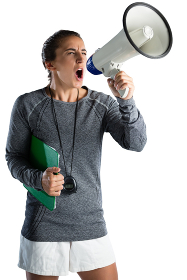 Young female coach announcing on megaphone