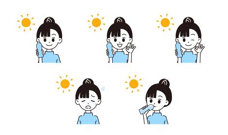熱中症対策する女性のイラスト
