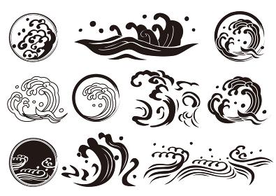 海や波ロゴ マーク