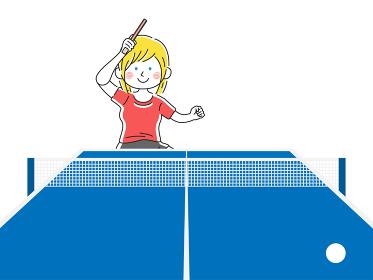 卓球をする白人女性のイラスト