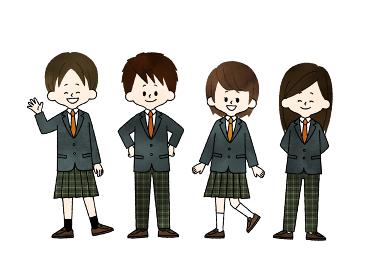 学生服の自由選択 水彩