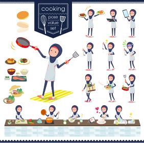 flat type Arab women White Sportswear_cooking