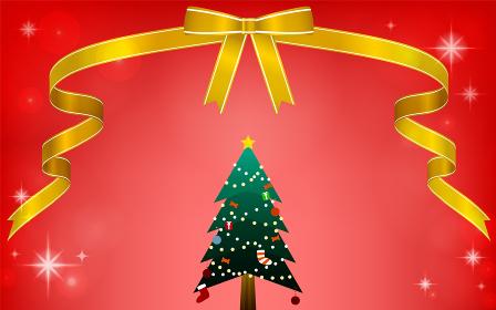 リボンとクリスマスツリーのイラスト