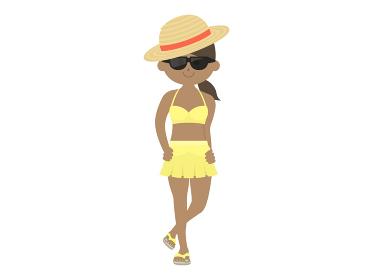 麦わら帽子をかぶった水着女性のイラスト