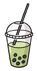 【手描きベクター食べ物イラスト素材】タピオカ抹茶ラテのイラスト【縁日・お祭り・屋台の食べ物】