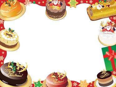 クリスマスケーキのフレームのイラスト