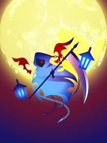 満月と死神 イラスト ベクター ポスター