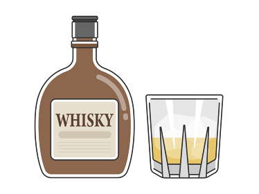 ウイスキーとウイスキーグラスのイラスト