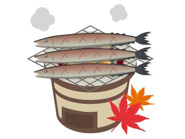 七輪で秋の秋刀魚を焼くイラスト