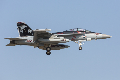 厚木基地に着陸するアメリカ海軍のF/A-18スーパーホーネット戦闘機(綾瀬市/神奈川県)