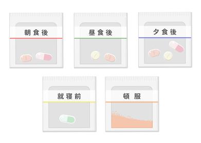 薬の一包化 イメージイラスト(朝、昼、夜、就寝前、頓服 五種類)
