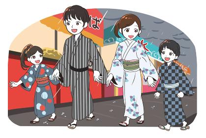 縁日に出かける浴衣の家族(雨)