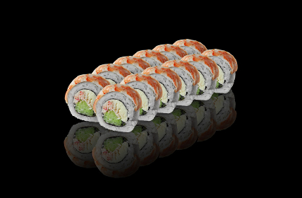 Rolls with tiger prawn on black background with reflection