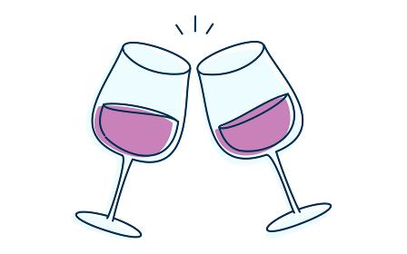 ワインで乾杯してるイメージイラスト