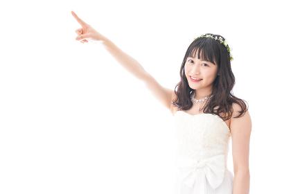 将来を指差すドレス姿の花嫁