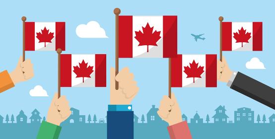 手持ち国旗 バナーイラスト ( 愛国心・イベント・お祝い ・デモ) / カナダ