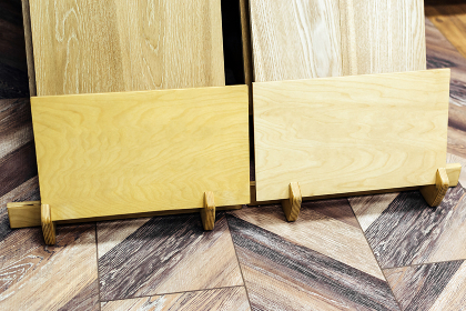 Parquet board on the stand in the store