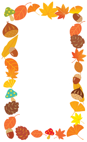 秋の栗やドングリとイチョウや紅葉の縦フレーム
