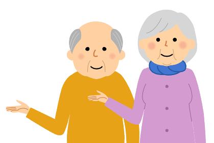 説明する老夫婦 シニアカップル 高齢者