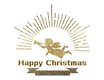 手描きタッチのハッピークリスマスのロゴマーク(ゴールド)|集中線と天使のイラストChristmas