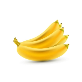 Banana. Vector Realistic Isolated Bananas. Realistic Yellow Bananas on the White Background. Vector Illustration of Bananas for Wallpaper, Packaging, Web Design, Tablecloth, Tile. Delicious Fruits.