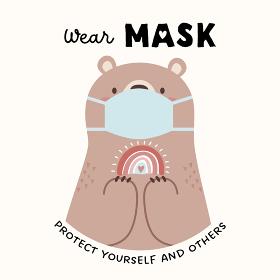 フェイスマスクをつけたかわいいクマのキャラクター