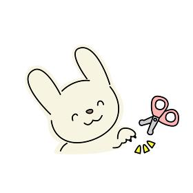 ウサギの爪切りのイラスト(黄色)