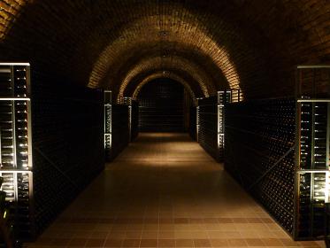 ワインを熟成保管させる暗所の大きなワイナリー倉庫