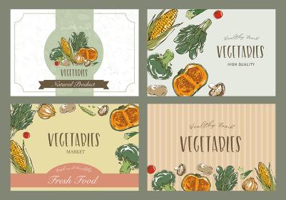 おしゃれな野菜のスケッチイラスト ポストカードデザイン