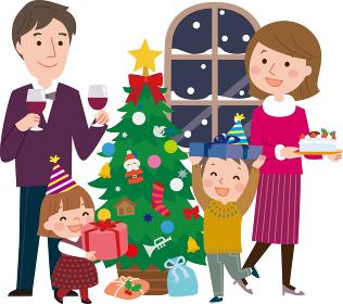 クリスマスを楽しむ家族