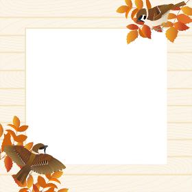 スズメと秋の枝のナチュラルなフレームベクターイラスト