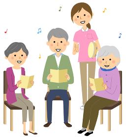 レクレーションで歌う高齢者