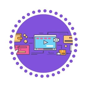Icon flat style viral video and social marketing. Online internet, technology web communication, digital advertising promotion, service networking, play illustration