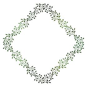 緑の小枝と実のフレームイラスト 2