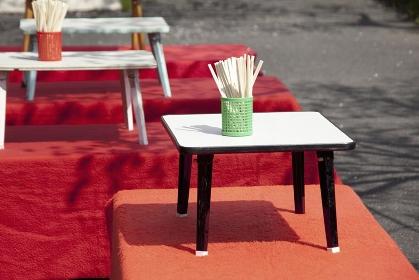 花見の出店のテーブル