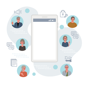ITコミュニケーション ビジネスコンセプト スマホとシニアのイラスト