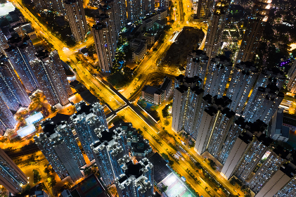 Tin Shui Wai, Hong Kong -27 October 2018: Hong Kong residential at night