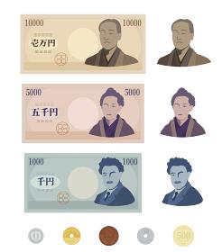 デフォルメされた日本のお金セット 紙幣 硬貨