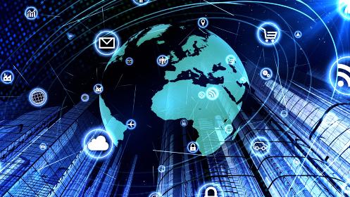 グローバル 通信 テクノロジー スマートシティ AI ワールド 地球 3D イラスト