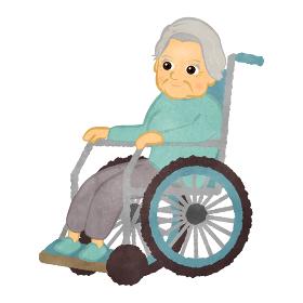 車いすに座っているかわいいおばあちゃんのイラスト