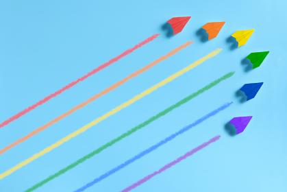 6機の虹色の紙飛行機 3