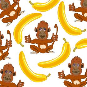 Wildlife ape and banana decorative pattern.Vector illustration