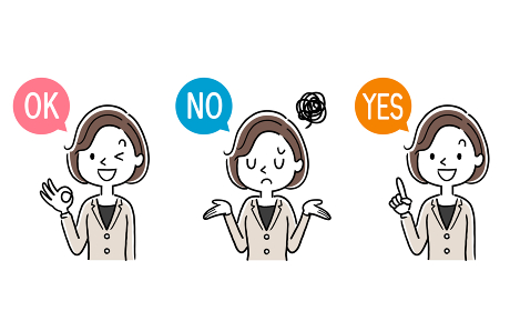 ベクター素材:質問に対して回答する若い女性、ビジネスウーマン、セット