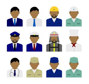 上半身シルエット人物イラスト・ビジネスコスチューム セット (アジア人・アラブ人・黒人)