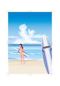 海でサーフィンを楽しむ女性