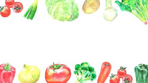 水彩で描いた野菜のフレーム