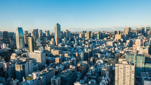 東京 都市風景 高層ビル群