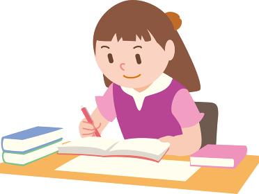 受験勉強する女の子夏