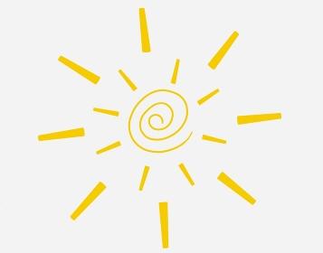 可愛いぐるぐる巻きの黄色の太陽